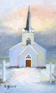 Country Church 3 X 5 Oil On Panel