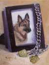 "Dog Tags 5"" x 7"" oil on w/c paper"