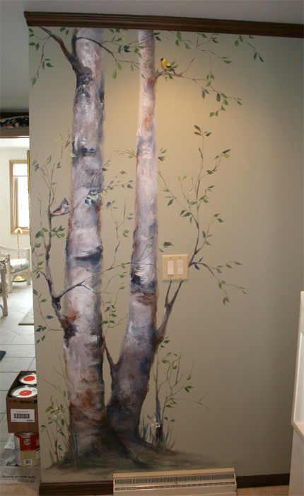 Birch trees for Best paint for a wall mural