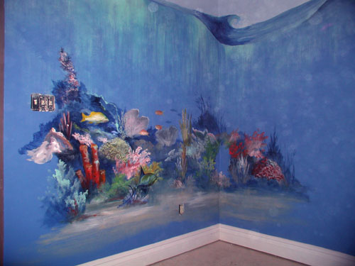 murals under the sea. Black Bedroom Furniture Sets. Home Design Ideas