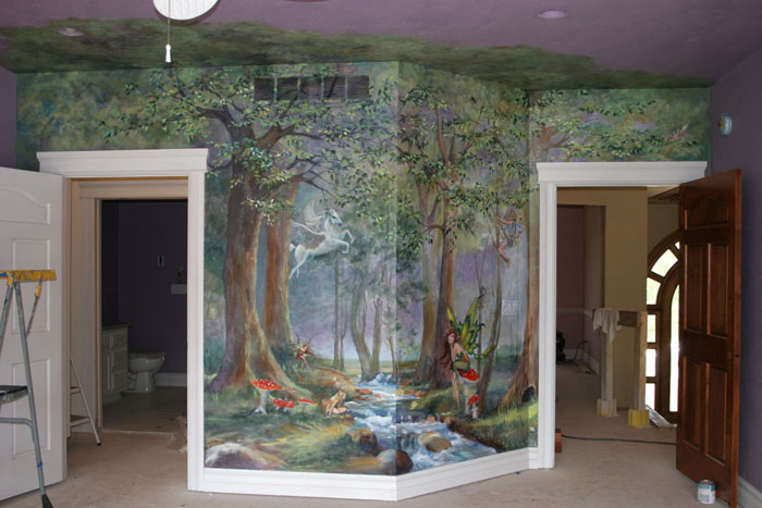Murals enchanted forest for Enchanted forest mural wallpaper