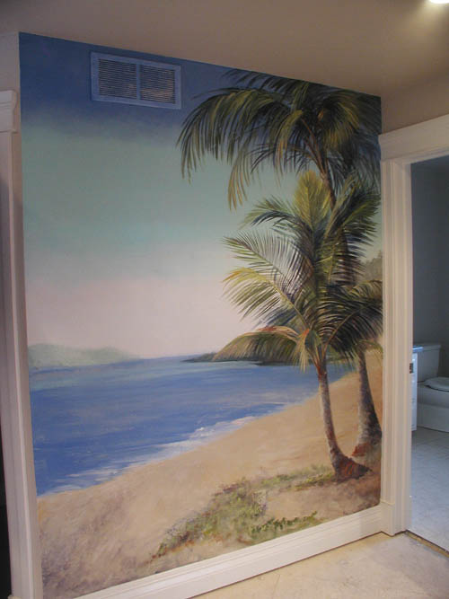 Tropical beach wallpaper murals for Beach mural painting