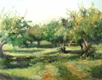 Oil on Panel - Apple Orchard. Plein Air Painting.