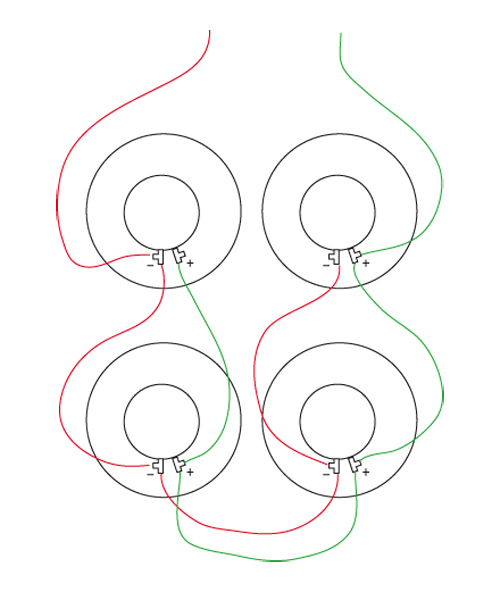 speaker wiring can you check my diagram the gear page im trying to wire 4 8ohm speakers to be a 2ohm load when i m finished for my super reverb does the diagram i drew look right i think it is