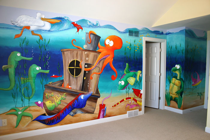 Murals underwater characters for Diving and fishing mural